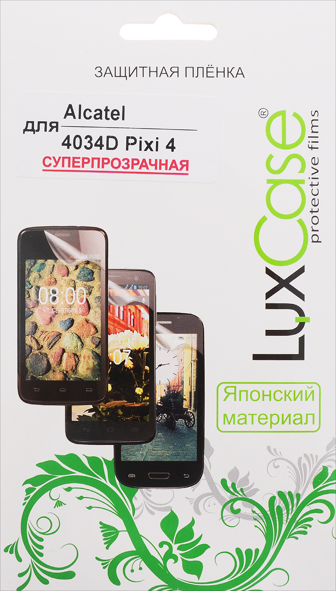 LuxCase защитная пленка для Alcatel OneTouch Pixi 4 (4034D), суперпрозрачная защитная плёнка для alcatel onetouch idol 4 6055k суперпрозрачная luxcase
