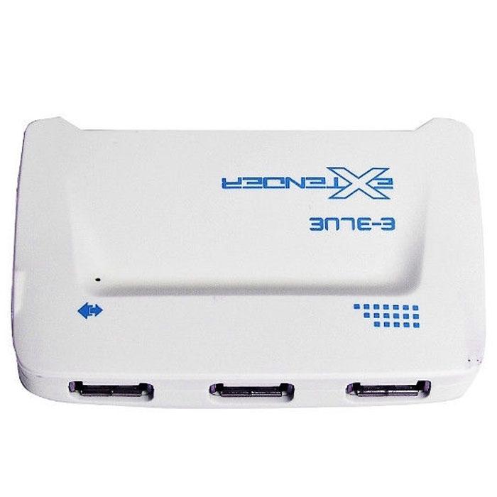 E-Blue ERD052 Extender, Blue картридер + USB-концентраторERD052BLКартридер + USB-концентратор E-Blue ERD052 Extender выполняет одновременно функции картридера и usb-хаба. Компактный и стильный, он отлично справляется с задачами и функциями картридера. Секции слотов, расположенные по периметру устройства, подойдут для карт памяти любых современных форматов. E-Blue ERD052 Extender вмещает в себя три USB - порта, к которым вы сможете подключать различные периферийные устройства, включая принтеры, сканеры, внешние накопители. Скорость передачи данных устройства достигает 480 Мбит/с, что в 40 раз быстрее USB 1.1.