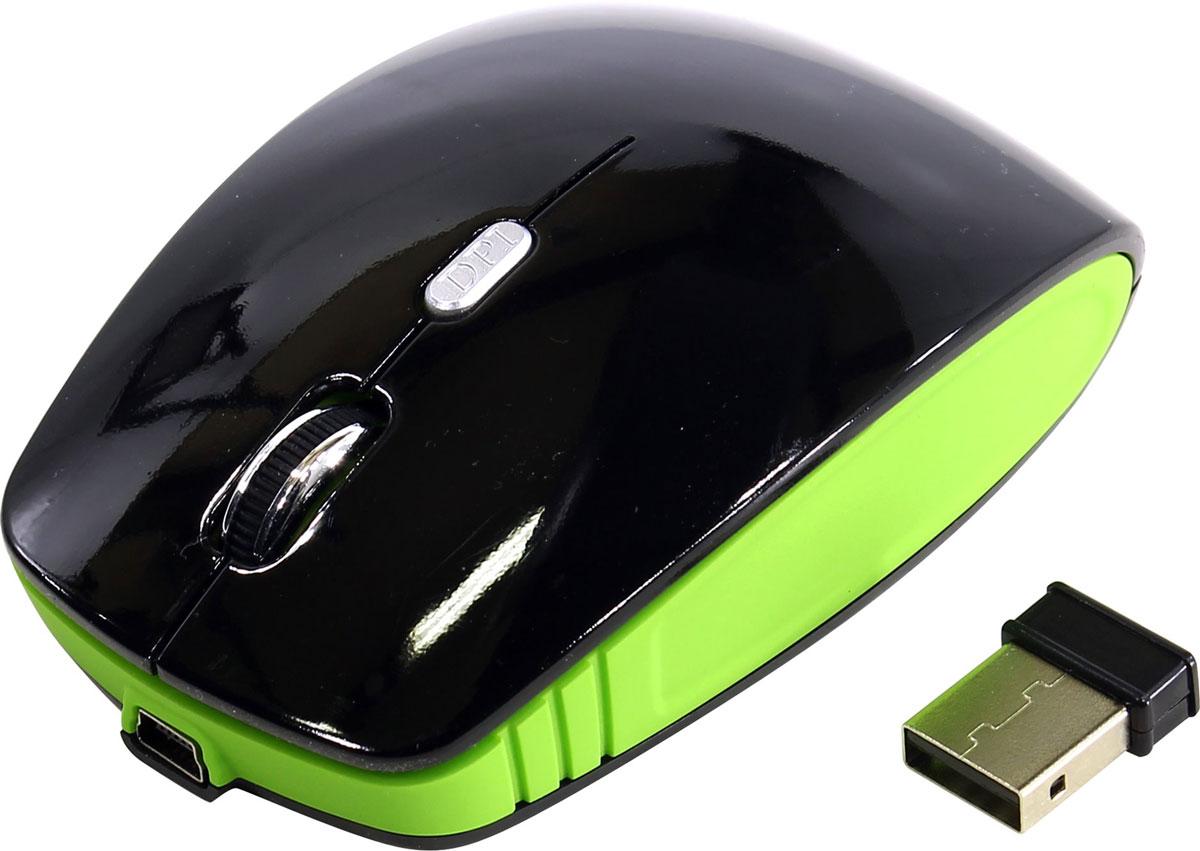 SmartBuy 336CAG, Black Green мышьSBM-336CAG-KNВажной особенностью SmartBuy 336CAG является возможность зарядки аккумулятора мыши без прекращения работы. В комплекте устройства идет USB-кабель, с помощью которого можно подключать мышь к USB-порту компьютера для подзарядки и при этом продолжать работу. На время зарядки мышь временно превращается в хвостатую. В режиме офисной работы периодичность подзарядки раз в 2-3 месяца, время зарядки аккумулятора всего 1 час.Эргономичный дизайн корпуса разработан для продолжительной работы без ощущения усталости. Радиус действия беспроводной связи составляет 10 метров, что обеспечивает большую свободу действий. SmartBuy 336CAG может работать практически на любой поверхности. Оптический сенсор обеспечивает максимально точное позиционирование курсора.
