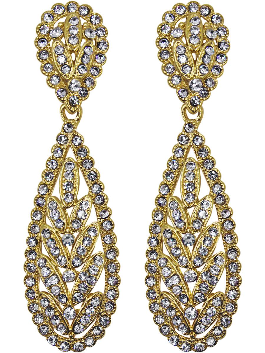 Серьги Taya, цвет: золотой. T-B-11119-EARR-GOLDКаффыСерьги с английским замком изготовлены из гипоаллергенного бижутерного сплава. Серьги имеют вытянутуюудлиненную форму и оформлены прозрачными кристаллами.