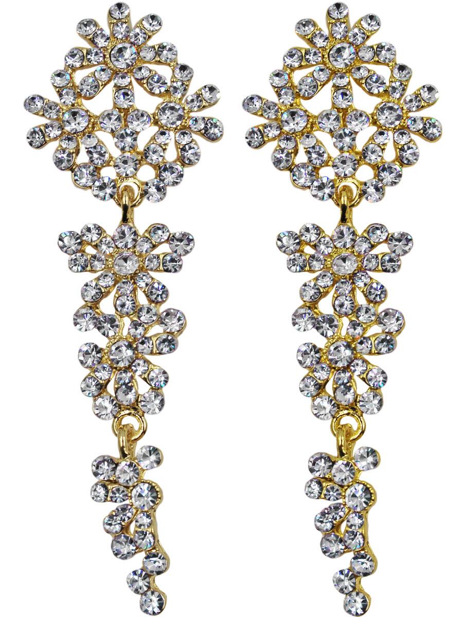 Серьги Taya, цвет: золото. T-B-11159-EARR-GOLDПуссеты (гвоздики)Серьги с классической английской застежкой сотканы из многочисленных цветков и капелек росы. Изготовлена модель из гипоаллергенного бижутерного сплава.