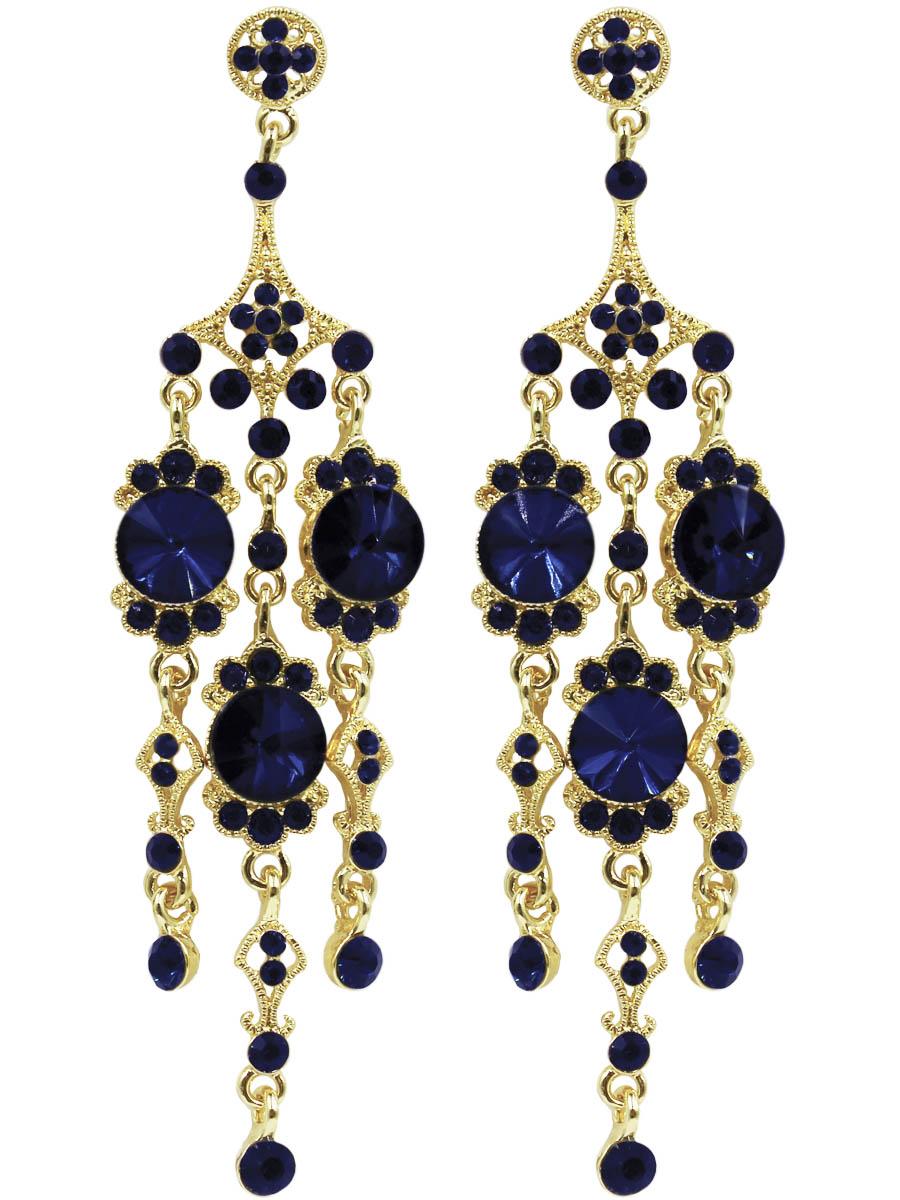 Серьги Taya, цвет: золото, темно-синий. T-B-11218-EARR-GL.D.BLUEПуссеты (гвоздики)Серьги-гвоздики с заглушкой металл-пластик изготовлены из гипоаллергенного бижутерного сплава. Крупные серьги выполнены с тремя подвесками и сверкающими стразами.
