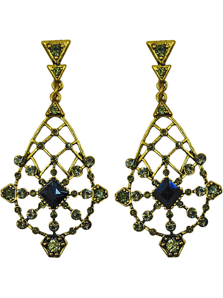 Серьги Taya, цвет: золотой. T-B-11248Серьги с подвескамиВинтажное украшение с серыми и кристаллами, вплетенными в узорчатую решетку. Серьги с английским замком.