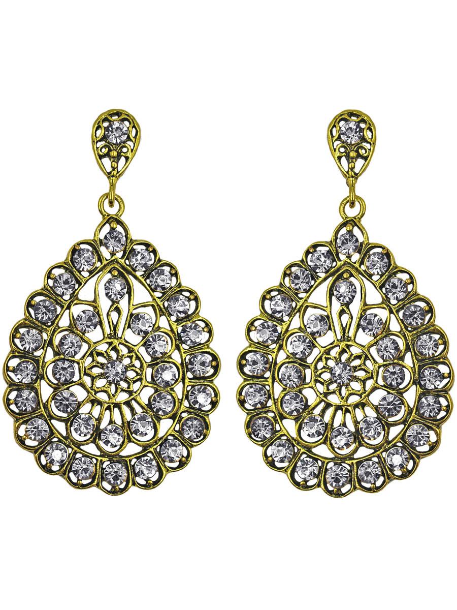 Серьги Taya, цвет: золото, прозрачный. T-B-11255-EARR-GL.CLEARСерьги с подвескамиСерьги с английским замком изготовлены из гипоаллергенного бижутерного сплава. Шикарное панно из кристаллических страз и черненого золота овальной формы.