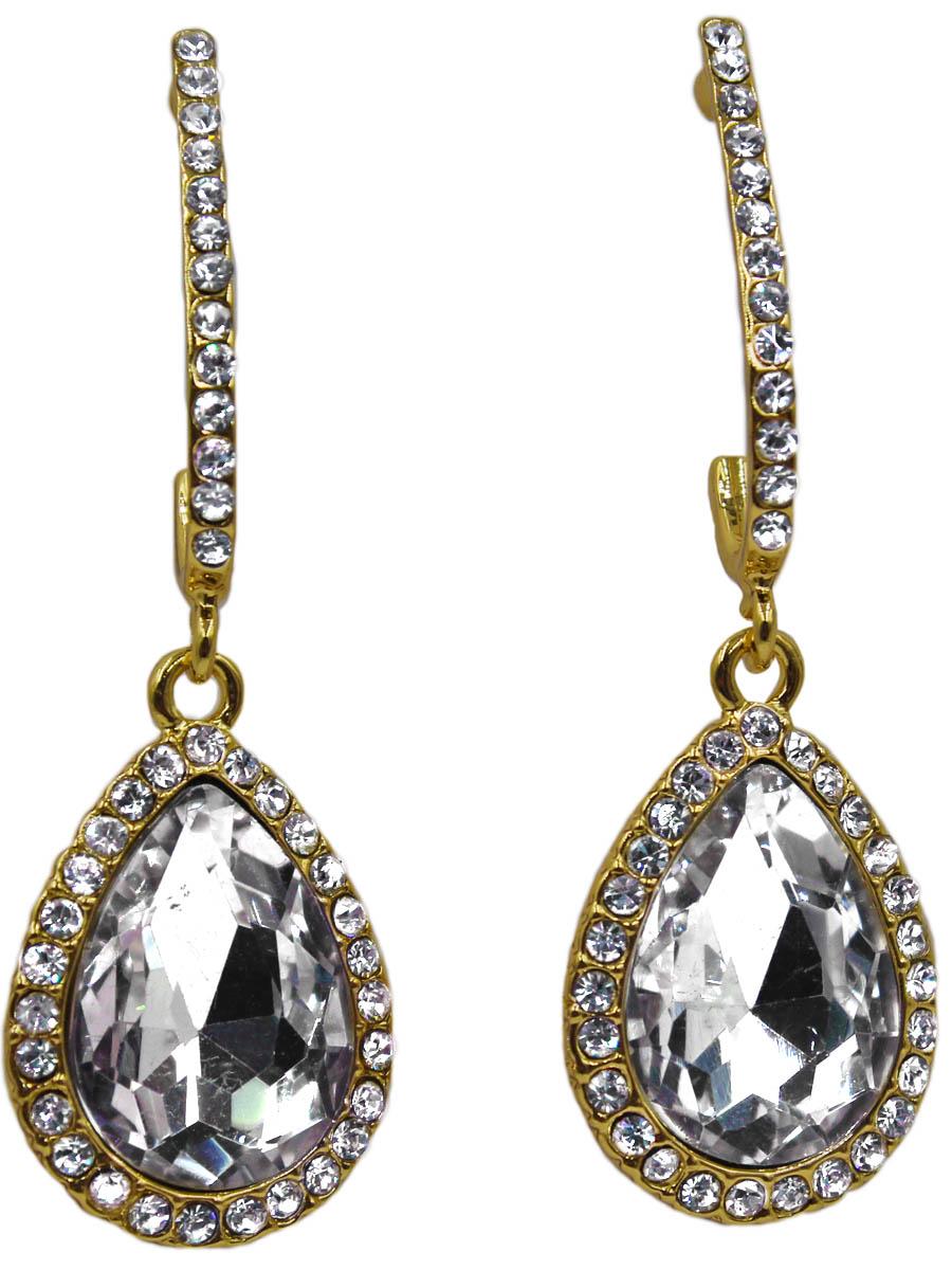 Серьги Taya, цвет: золото, прозрачный. T-B-11265-EARR-GL.CLEARПуссеты (гвоздики)Серьги-гвоздики с заглушкой металл-пластик изготовлены из гипоаллергенного бижутерного сплава. Серьги с каплевидной подвеской и вставкой из прозрачного кристалла.