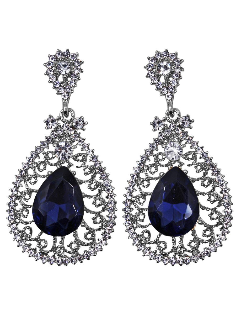 Серьги Taya, цвет: серебро, темно-синий. T-B-11355-EARR-SL.D.BLUEПуссеты (гвоздики)Серьги с английским замком изготовлены из гипоаллергенного бижутерного сплава. Сережки объемной формы имеют вставку из крупного каплевидного кристалла. Кристалл выполнен на серебряной витой платформе.