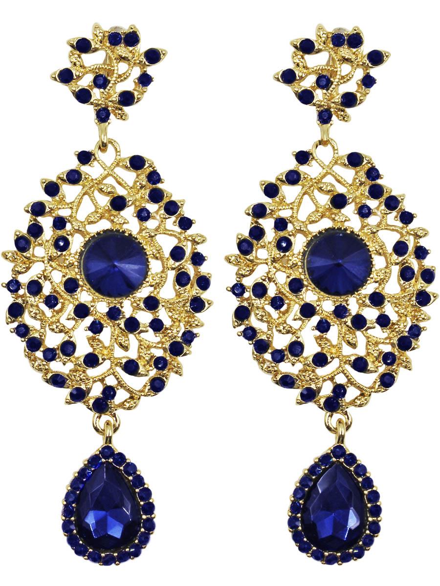 Серьги Taya, цвет: золото, синий. T-B-11370-EARR-GL.NAVYСерьги с подвескамиСерьги с английским замком изготовлены из гипоаллергенного бижутерного сплава. Крупные, грациозные серьги выполнены из овальных фигур с украшением из сверкающих камней.