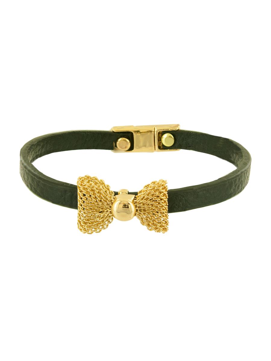 Браслет женский Taya, цвет: золотой, темно-зеленый. T-B-6349-BRAC-GL.BLACKГлидерный браслетИзящный кожаный браслет с нежным бантиком из золотой сеточки, застегивается на очень удобную магнитную застежку.