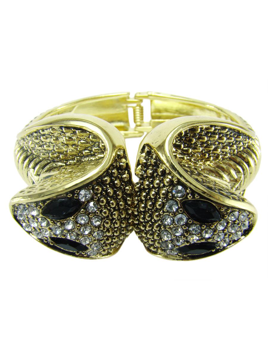Браслет женский Taya, цвет: золотой. T-B-7061-BRAC-GOLDБраслет с подвескамиБраслет в виде двух змей на пружинке.