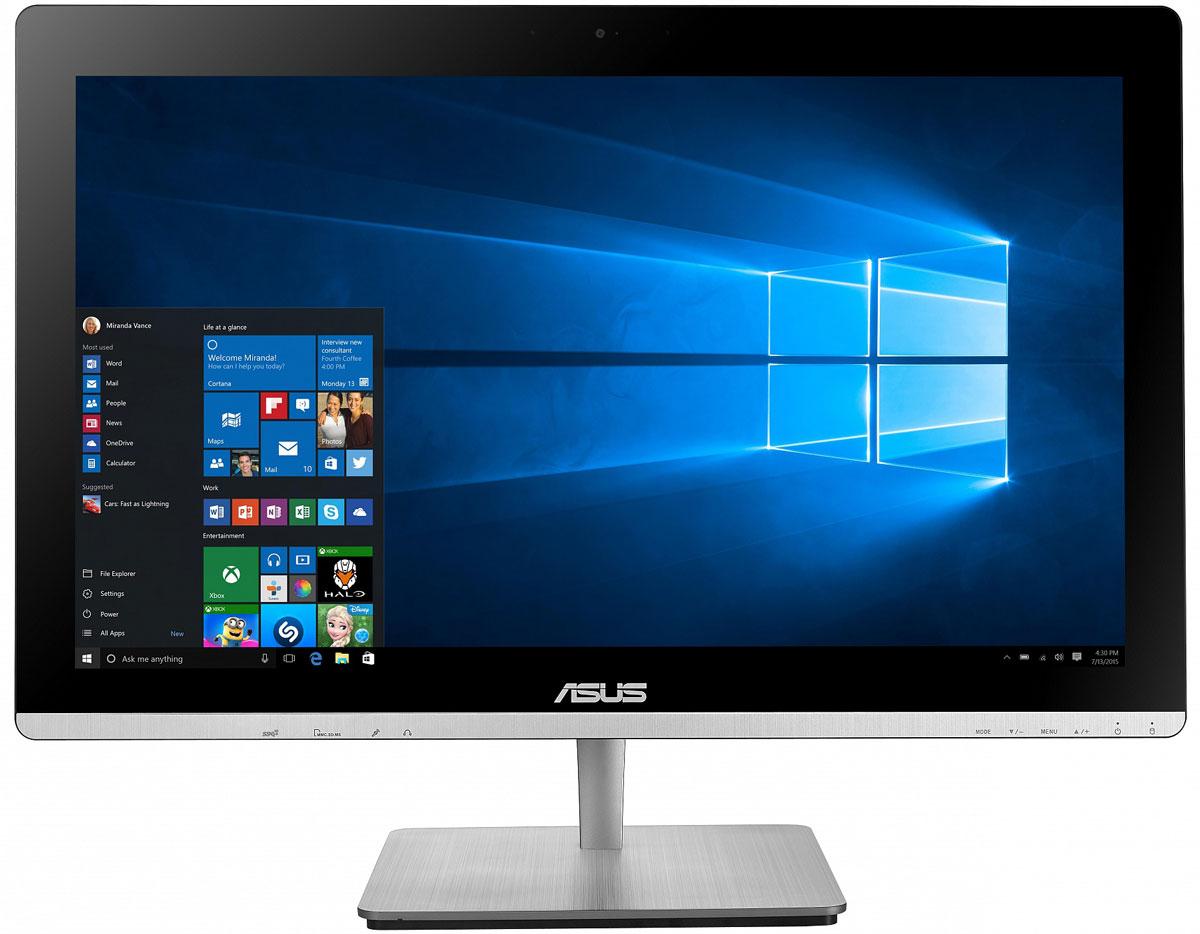 ASUS Vivo AiO V230ICGT, Black моноблок (V230ICGT-BF036X)V230ICGT-BF036XВ тонком и компактном корпусе моноблока Asus Vivo AiO V230ICGT разместились все компоненты современного компьютера - дисплей, процессор, видеокарта, память, диск и многое другое. Этот новый моноблочный ПК, получивший новейший процессор и мощную графическую систему, оснащается стильной металлической подставкой.Современный моноблок серии Vivo AiO - это компактное устройство с полным набором возможностей настольного компьютера. Благодаря тонкому корпусу он не занимает много места на столе, способствуя созданию уютной обстановки в помещении.Стильная серебристая подставка, используемая в моноблоке V230IC, придает ему дополнительную изящность. Уникальный шарнирный механизм спрятан под задней панелью, что делает внешний вид устройства еще более утонченным и органичным.Новейший процессор Intel сделает комфортной работу с несколькими одновременно запущенными программами, а технология Intel Turbo Boost 2.0 придает ему дополнительную скорость в те моменты, когда это необходимо. Моноблочные компьютеры серии V230IC удовлетворяют всем вашим требованиям.Моноблоки Asus серии V230IC оснащены современной графической подсистемой. Это может быть либо высокоскоростное графическое ядро, интегрированное в процессор Intel, либо видеокарта NVIDIA GeForce GT930M. Данная модель поможет ускорить процесс создания видео в HD-качестве и обработку фотографий, а также дает возможность насладиться плавной визуализацией и отменной реакцией в современных играх.V230IC обладает ультратонким экраном со светодиодной подсветкой, обеспечивающим высокую яркость и контрастность изображения. Разрешение Full HD (1920x1080) позволяет наслаждаться играми и фильмами с безупречной четкостью. Картинка на этом замечательном экране будет всегда выглядеть насыщенной и яркой, а оттенки цветов - реалистичными, будь то красивый закат, ясное голубое небо или цвет волос вашего ребенка.Мультисенсорный экран моноблока V230IC умеет обрабатывать прикосновени