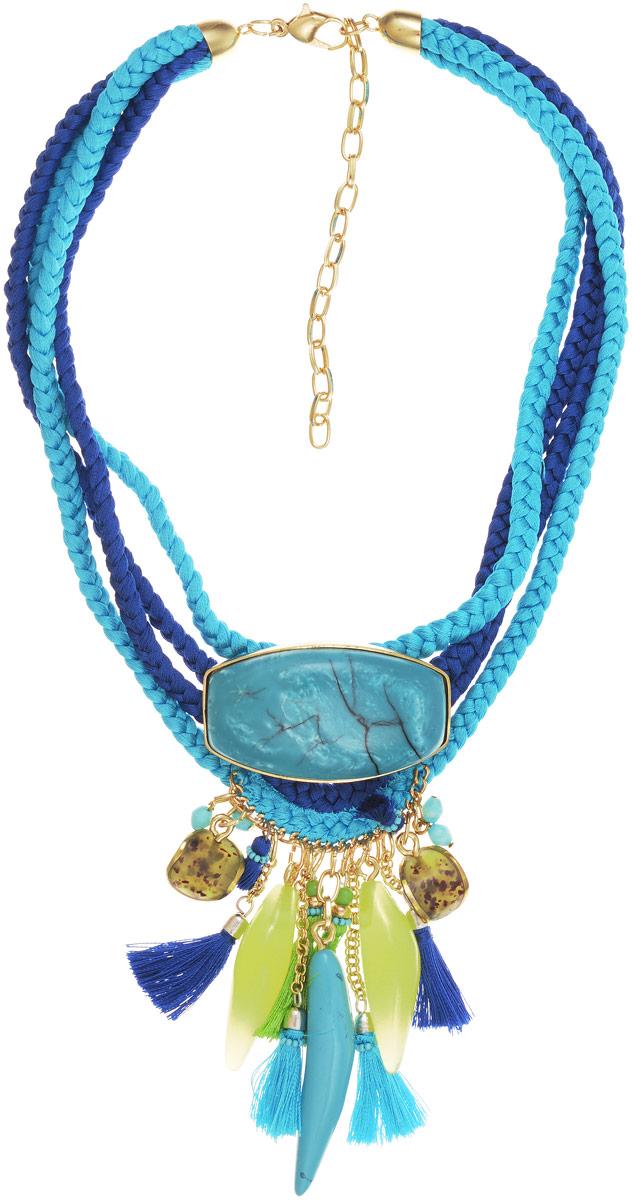 Колье Selena Vista Mara, цвет: бирюзовый, зеленый, синий. 10100831Бусы-ниткаКолье Selena Vista Mara выполнено из текстиля, ювелирной смолы и латуни с гальваническим покрытием золотом. В нем сочетаются выразительные крупные формы с нежной вставкой из ювелирной смолы, искусно имитирующей ценный камень - бирюзу. В этом колье вы всегда будете выглядеть женственно, привлекательно и оригинально. Выразительный декор делают его ярким и заметным украшением, которое обязательно привлечет внимание к вашей персоне. Колье оснащено удобным замком-карабином. Лигурийское побережье вдохновило итальянских дизайнеров на создание завораживающей коллекции украшений Vista Mara. Итальянская ривьера славится нарядными парками и садами с тропической растительностью, роскошными ресторанами и казино, весёлой и праздничной атмосферой. Украшения Vista Mara заключили в себе характер этого райского места. Любовь, страсть и вдохновение - такие эмоции вызывает эта коллекция!