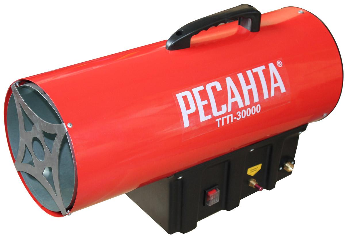 Ресанта ТГП-30000 тепловая газовая пушка67/1/15Тепловая газовая пушка модели Ресанта ТГП-30000 - это отличный выбор для складских, торговых и строительных площадей. Пушка этой модели способна прогревать и поддерживать необходимую температуру в помещениях площадью до 150 кв.м. Способ розжига сжиженного газа - пьезоподжиг, а мощный вентилятор прогоняет теплый воздух, подогревая его до нужного уровня. Ресанта ТГП-30000 расходует около 1,2 кг топлива в час и позволяет регулировать температуру прогрева. Пушка имеет специальную систему защиты от перегрева, которая обеспечивает долговечность ее службы. Пушка создана для напольной установки и имеет рукоятку для комфортной переноски.