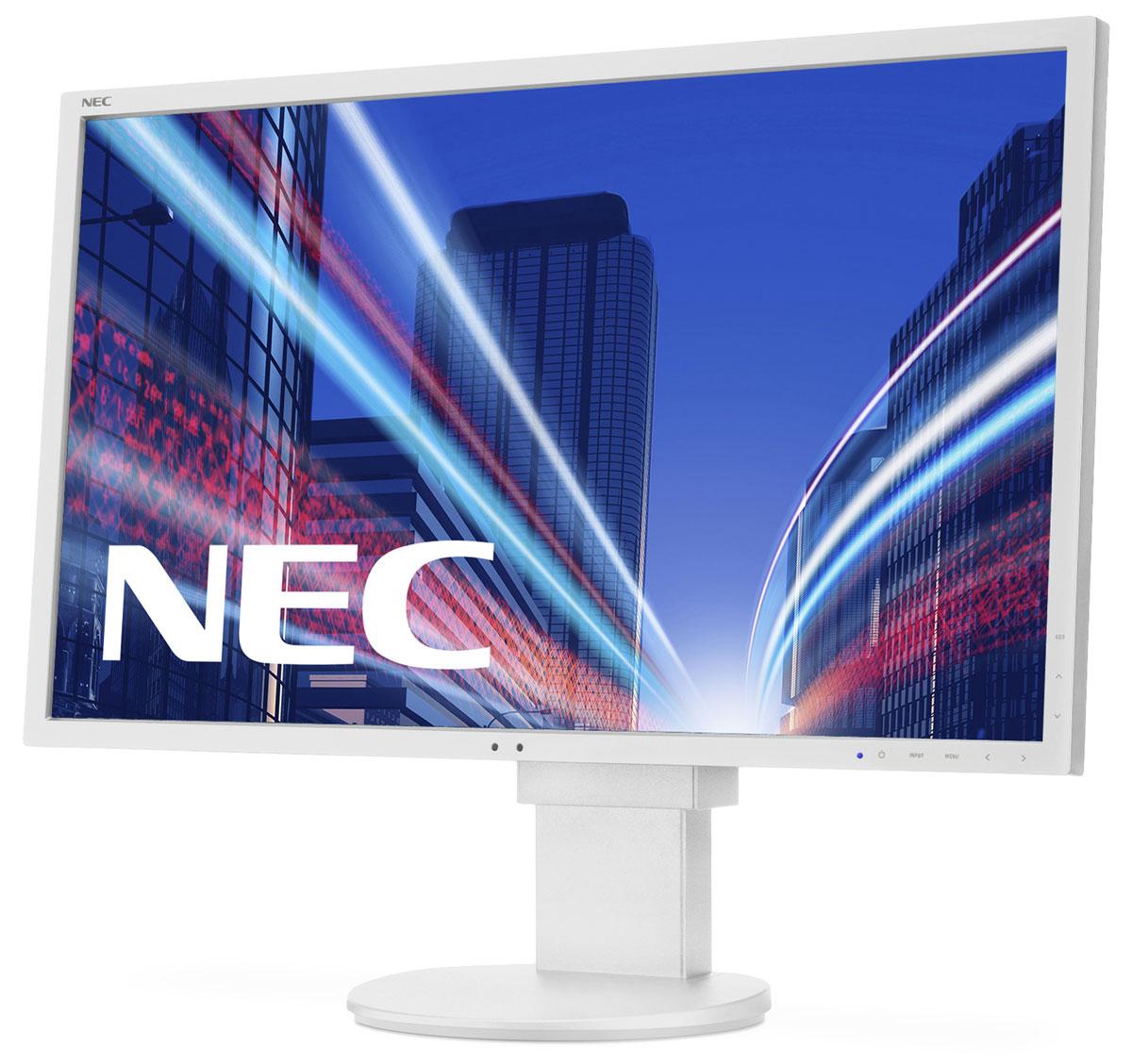 NEC EA275WMi, White монитор60003814Модель NEC EA275WMi обладает очень тонкой 27 IPS-панелью со светодиодной подсветкой и разрешением 2560 x 1440, что обеспечивает ультрасовременный и тонкий дизайн. Датчик рассеянного света и датчик присутствия являются стандартными характеристиками данной модели, кроме того, модель обладает улучшенными эргономическими характеристиками, например, механизмом регулирования высоты до 130 мм. Эргономическое исполнение данного дисплея дополняется отличным качеством изображения. Дисплей также располагает перспективными возможностями соединения с 4 коннекторами: DisplayPort, DVI-I, HDMI и выходом DisplayPort.Идеальный набор функциональных возможностей для офисной эксплуатации – встроенные динамики, гнездо для подключения наушников и USB-хаб обеспечивают отличные опции для офисной коммуникации.Датчик рассеянного света – благодаря функции автоматической яркости Auto Brightness всегда можно оптимизировать уровень яркости в зависимости от освещения и условий изображения.Датчик присутствия человека – определяет присутствие человека перед экраном и автоматически включает или выключает экран для экономии электроэнергии.