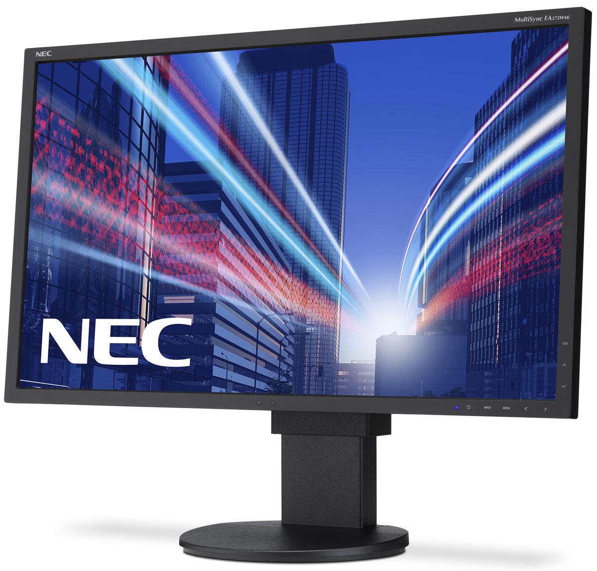 NEC EA275WMi, Black монитор60003813Модель NEC EA275WMi обладает очень тонкой 27 IPS-панелью со светодиодной подсветкой и разрешением 2560 x 1440, что обеспечивает ультрасовременный и тонкий дизайн. Датчик рассеянного света и датчик присутствия являются стандартными характеристиками данной модели, кроме того, модель обладает улучшенными эргономическими характеристиками, например, механизмом регулирования высоты до 130 мм. Эргономическое исполнение данного дисплея дополняется отличным качеством изображения. Дисплей также располагает перспективными возможностями соединения с 4 коннекторами: DisplayPort, HDMI и выходом DisplayPort.Идеальный набор функциональных возможностей для офисной эксплуатации - встроенные динамики, гнездо для подключения наушников и USB-хаб обеспечивают отличные опции для офисной коммуникации.Датчик рассеянного света - благодаря функции автоматической яркости Auto Brightness всегда можно оптимизировать уровень яркости в зависимости от освещения и условий изображения.Датчик присутствия человека - определяет присутствие человека перед экраном и автоматически включает или выключает экран для экономии электроэнергии.