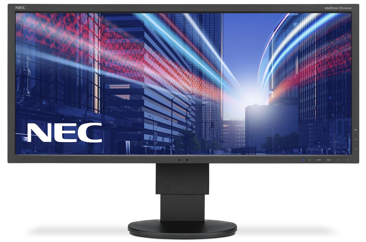 NEC EA294WMi-BK, Black монитор60003417Модель NEC EA294WMi обладает очень тонкой 29-дюймовой панелью 21:9 с разрешением 2560x1080, а также со светодиодной подсветкой и IPS-технологией, что обеспечивает ультрасовременный и ультратонкий дизайн. Благодаря новому формату, соответствующему экранной установке из двух обычных 19-дюймовых экранов, данная модель является отличной альтернативой для любых многоэкранных установок. Датчик внешней освещенности и датчик присутствия являются характеристиками, соответствующими экологичной концепции продукции, кроме того, данная модель обладает улучшенными эргономическими характеристиками, например, механизмом регулирования высоты до 130 мм. Новая характеристика Control Sync обеспечивает синхронизацию мультимониторной настройки, а стандарт MHL (Mobile High Definition Link) предоставляет прямую связь монитора с вашим смартфоном.Эргономичный офис – регулировка по высоте (130 мм), возможность поворота, наклона и вращения обеспечивает удобную установку с учетом индивидуальных требований пользователя.Датчик рассеянного света – благодаря функции автоматической яркости Auto Brightness всегда можно оптимизировать уровень яркости в зависимости от освещения и условий изображения.Датчик присутствия человека – определяет присутствие человека перед экраном и автоматически включает или выключает экран для экономии электроэнергии.