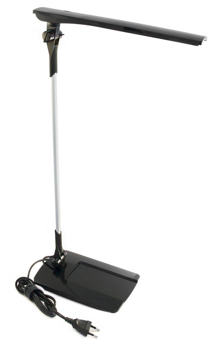 """Светильник Трансвит Сириус-С16, настольный, цвет: черный4607053882148Светильник с энергосберегающим светодиодным источником света мощностью 6,5 Вт и сенсорным выключателем на плафоне предназначен для освещения и создания высокого светового комфорта на учебных и рабочих местах, местах чтения и отдыха, при работе с компьютером.Светильник выполнен на основе энергосберегающего источника света, состоящего из 16 светодиодов """"LG"""" или """"Samsung"""" мощностью 0,3 Вт каждый, расположенных на печатной плате.Освещенность, создаваемая светильником на расстоянии 40 см, аналогична освещенности, создаваемой 60Вт лампой накаливания.Основные преимущества:- высокая экономичность - экономия до 90% электроэнергии,- экологическая безопасность,- отсутствие мерцания и шумов, исключена зрительная усталость,- отсутствие пульсации светового потока,- долговечность (срок службы составляет около 50 000 часов),- приятный яркий качественный свет (естественный спектр освещения),- мгновенное включение.Тип светильника: настольная лампа.Источник света: светодиодная (LED) лампа.Мощность лампы: 7 Вт.Способ монтажа: стойка.Материал корпуса: пластик.С диммером: нет.С выключателем: сенсорный выключатель.Регулируемая высота: да.Высота: 310 мм.Класс защиты от поражения электрическим током: II.Цвет корпуса: черный."""