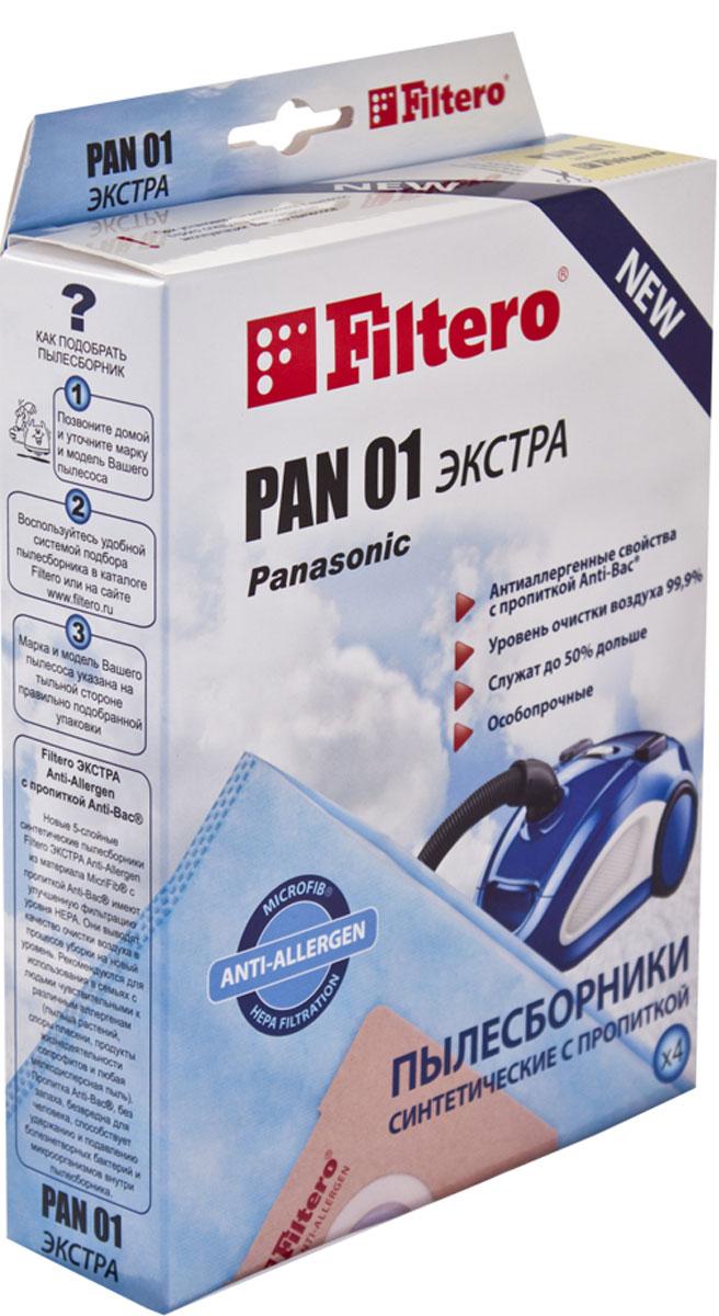 Filtero Pan 01 Экстра комплект пылесборников, 4 штPAN 01 (4) ЭКСТРАМешки-пылесборники Filtero Pan 01 Экстра произведены из синтетического микроволокна MicroFib с антибактериальной пропиткой Anti-Bac. Очень прочные, они не боятся острых предметов и влаги, собирают больше пыли (до 50%) и обеспечивают уровень очистки воздуха 99,9%, а также задерживают бактерии и препятствуют их распространению. При этом мощность всасывания пылесоса сохраняется в течение всего периода службы пылесборника.Подходят для следующих моделей пылесосов:Panasonic:MC-E 60 - MC-E 69MC-E 70 - MC-E 79MC-E 80 - MC-E 89MC-E 650 - MC-E 659MC-E 735 - MC-E 799например: MC-E 747MC-E 850 - MC-E 869MC-E 7000 - MC-E 7399например: MC-E 7002MC-E 7303MC-E 9001, MC-E 9003MC 81 - MC 89например: MC 86MC 650 - MC 659MC 850 - MC 859MC 7000 - MC 7140MC-CG 461 - MC-CG 469например: MC-CG 467 ZR 79MC-CG 661- MC-CG 679например: MC-CG 663 ZR 79MC-CG 881 - MC-CG 889например: MC-CG 883;Samsung:VC 1400VC 1700