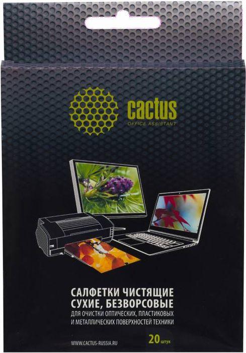 Cactus CS-T1003 салфетки универсальные сухие безворсовые 15х13 см, 20 штCS-T1003Салфетки Cactus CS-T1003 предназначены для очистки оптических, пластиковых и металлических поверхностей техники. Возможно не однократное использование.