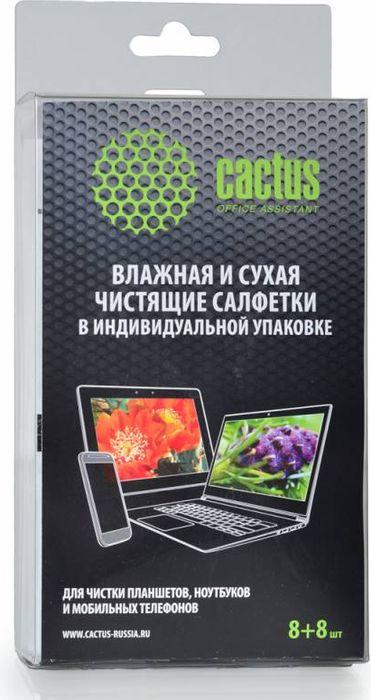 Cactus CS-T1004 салфетки для мобильных устройств сухая и влажная, 8+8 шт