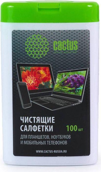 Cactus CS-T1005 салфетки для мобильных устройство, 100 штCS-T1005Салфетки Cactus CS-T1005 в компактной упаковки предназначены для удаления пыли и грязи с поверхностей ноутбуков, планшетов, мобильных устройств и различной оргтехники.
