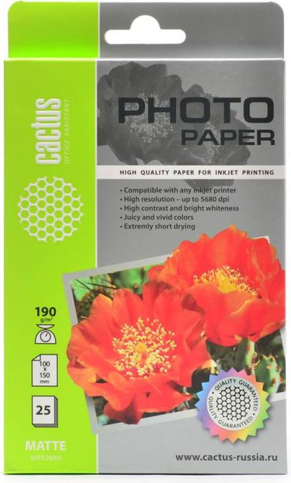 Cactus CS-MA619025 A6/190г/м2 матовая фотобумага для струйной печати (25 листов)CS-MA619025Фотобумага Cactus CS-MA619025 с матовым покрытием для струйной печати.Наслаждайтесь лучшими мгновениями вашей жизни в сочных и насыщенных цветах. Представляйте яркие и красочные презентации. Создавайте отпечатки высочайшего качества. Фотобумага Cactus совместима со струйными принтерами Hewlett Packard, Canon, Epson и другими марками. Высококлассное покрытие фотобумаги Cactus позволяет добиться максимально точной цветопередачи при печати фотографий и графики.