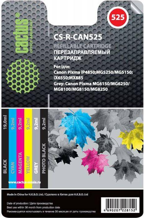 Cactus CS-R-CAN525 комплект перезаправляемых струйных картриджей для Canon PIXMA iP4850/MG5250/MG5150/iX6550/MX885CS-R-CAN525Комплект струйных картриджей Cactus CS-R-CAN525 для перезаправляемых принтеров Canon PIXMA iP4850/MG5250/MG5150/iX6550/MX885. Расходные материалы Cactus для печати максимизируют характеристики принтера. Обеспечивают повышенную четкость изображения и плавность переходов оттенков и полутонов, позволяют отображать мельчайшие детали изображения. Обеспечивают надежное качество печати.Цвета картриджей: черный, голубой, пурпурный, желтый, серый, черный фото.