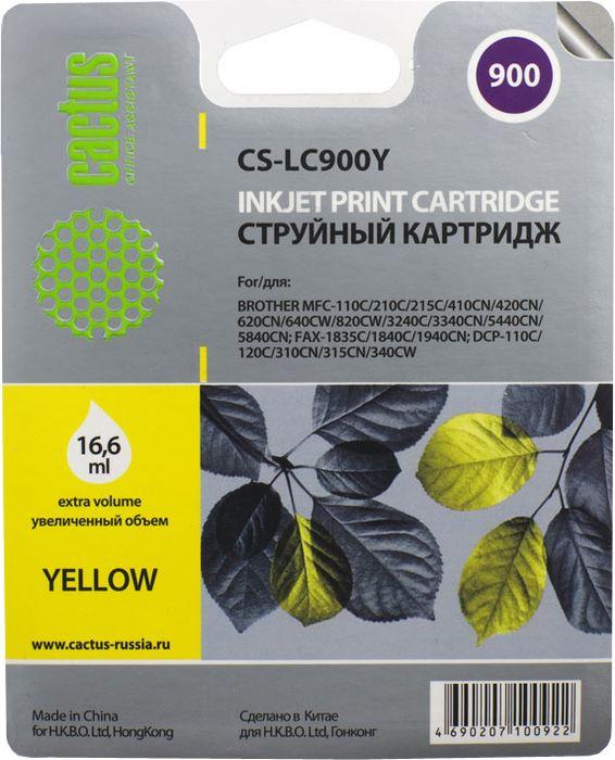 Cactus CS-LC900Y, Yellow картридж струйный для Brother DCP-110/115/120/MFC-210/215/FAX-1840CS-LC900YКартридж Cactus CS-LC900Y для струйных принтеров Brother DCP-110/115/120/MFC-210/215/FAX-1840.Расходные материалы Cactus для струйной печати максимизируют характеристики принтера. Обеспечивают повышенную чёткость чёрного текста и плавность переходов оттенков серого цвета и полутонов, позволяют отображать мельчайшие детали изображения. Обеспечивают надежное качество печати.