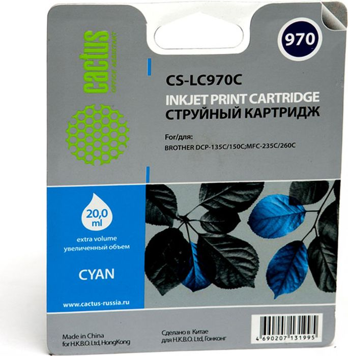 Cactus CS-LC970C, Cyan картридж струйный для Brother DCP-135C/150C/MFC-235C/260CCS-LC970CКартридж Cactus CS-LC970C для струйных принтеров Brother DCP-135C/150C/MFC-235C/260C.Расходные материалы Cactus для печати максимизируют характеристики принтера. Обеспечивают повышенную четкость изображения и плавность переходов оттенков и полутонов, позволяют отображать мельчайшие детали изображения. Обеспечивают надежное качество печати.