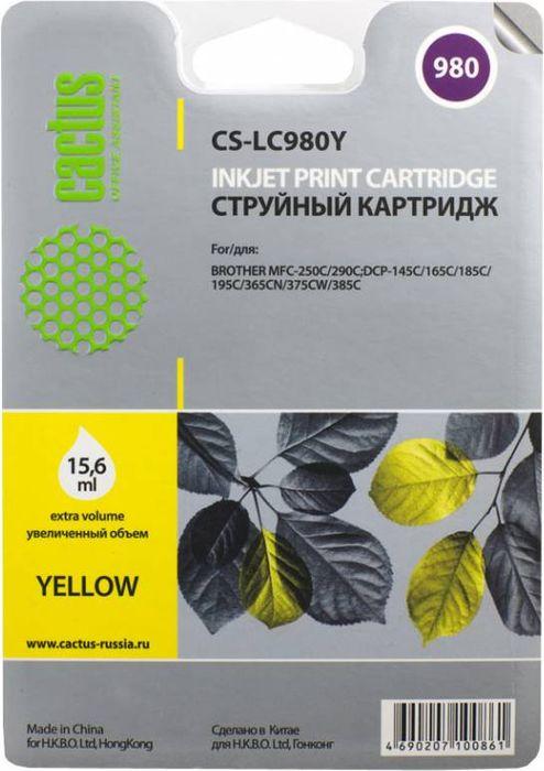 Cactus CS-LC980Y, Yellow картридж струйный для Brother DCP-145C/165C/MFC-250C/290CCS-LC980YКартридж Cactus CS-LC980Y для струйных принтеров Brother DCP-145C, 165C, MFC-250C, 290C.Расходные материалы Cactus для струйной печати максимизируют характеристики принтера. Обеспечивают повышенную чёткость цвета и плавность переходов оттенков и полутонов, позволяют отображать мельчайшие детали изображения. Обеспечивают надежное качество печати.