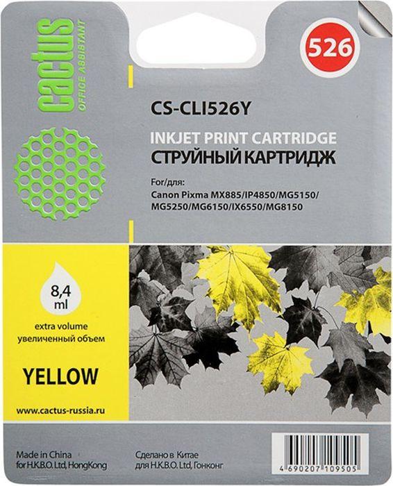 Cactus CS-CLI526Y, Yellow картридж струйный для Canon Pixma iP4850/MG5250/MG5150/iX6550/MX885 струйный картридж cactus cs cli521c m y цветной для canon pixma mp540 mp550 mp620 mp630