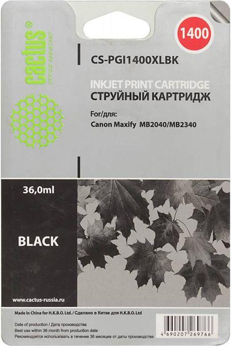 Cactus CS-PGI1400XLBK, Black картридж струйный для Canon MB2050/MB2350/MB2040/MB2340CS-PGI1400XLBKКартридж Cactus CS-PGI1400XLBK для струйных принтеров Canon MB2050/MB2350/MB2040/MB2340.Расходные материалы Cactus для печати максимизируют характеристики принтера. Обеспечивают повышенную четкость изображения и плавность переходов оттенков и полутонов, позволяют отображать мельчайшие детали изображения. Обеспечивают надежное качество печати.