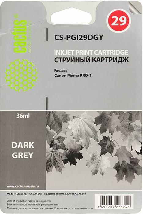 Cactus CS-PGI29DGY, Dark Gray картридж струйный для Canon Pixma Pro-1CS-PGI29DGYКартридж Cactus CS-PGI29DGY для струйных принтеров Canon Pixma Pro-1.Расходные материалы Cactus для печати максимизируют характеристики принтера. Обеспечивают повышенную четкость изображения и плавность переходов оттенков и полутонов, позволяют отображать мельчайшие детали изображения. Обеспечивают надежное качество печати.