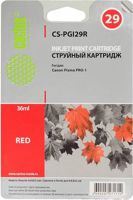 Cactus CS-PGI29R, Red картридж струйный для Canon Pixma Pro-1CS-PGI29RКартридж Cactus CS-PGI29R для струйных принтеров Canon Pixma Pro-1.Расходные материалы Cactus для печати максимизируют характеристики принтера. Обеспечивают повышенную четкость изображения и плавность переходов оттенков и полутонов, позволяют отображать мельчайшие детали изображения. Обеспечивают надежное качество печати.