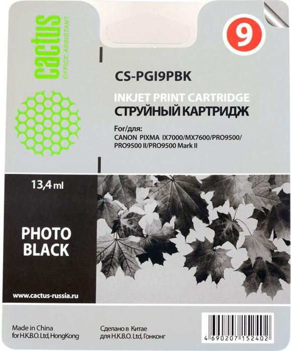 Cactus CS-PGI9PBK, Photo Black картридж струйный для Canon Pixma PRO9000 MarkII/PRO9500