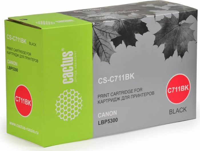 Cactus CS-C711BK, Black тонер-картридж для Canon LBP5300CS-C711BKТонер-картридж Cactus CS-C711BK для лазерных принтеров Canon LBP5300.Расходные материалы Cactus для лазерной печати максимизируют характеристики принтера. Обеспечивают повышенную чёткость чёрного текста и плавность переходов оттенков серого цвета и полутонов, позволяют отображать мельчайшие детали изображения. Гарантируют надежное качество печати.