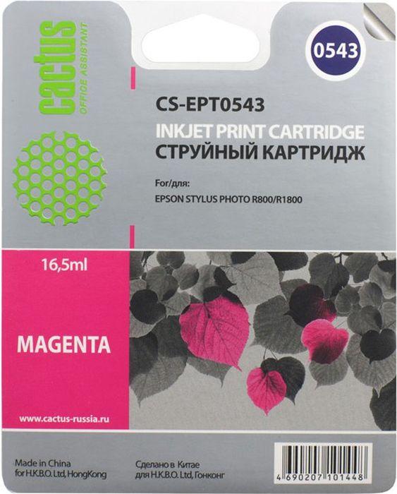 Cactus CS-EPT0543, Magenta картридж струйный для Epson Stylus Photo R800/R1800CS-EPT0543Картридж Cactus CS-EPT0543 для струйных принтеров Epson Stylus Photo R800/R1800.Расходные материалы Cactus для печати максимизируют характеристики принтера. Обеспечивают повышенную четкость изображения и плавность переходов оттенков и полутонов, позволяют отображать мельчайшие детали изображения. Обеспечивают надежное качество печати.
