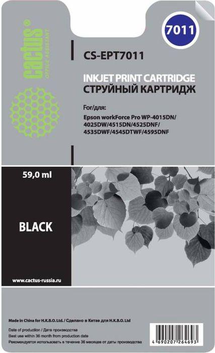 Cactus CS-EPT7011, Black картридж струйный для Epson WF-4015/4020/4025/4095/4515/4525CS-EPT7011Картридж Cactus CS-EPT7011 для струйных принтеров Epson WF-4015/4020/4025/4095/4515/4525.Расходные материалы Cactus для печати максимизируют характеристики принтера. Обеспечивают повышенную четкость изображения и плавность переходов оттенков и полутонов, позволяют отображать мельчайшие детали изображения. Обеспечивают надежное качество печати.