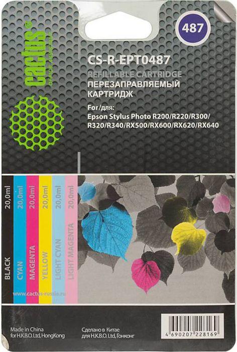Cactus CS-R-EPT0487 комплект перезаправляемых струйных картриджей для Epson SеPh R200/R220/R300CS-R-EPT0487Комплект струйных картриджей Cactus CS-R-EPT0487 для перезаправляемых принтеров Epson SеPh R200/R220/R300. Расходные материалы Cactus для печати максимизируют характеристики принтера. Обеспечивают повышенную четкость изображения и плавность переходов оттенков и полутонов, позволяют отображать мельчайшие детали изображения. Обеспечивают надежное качество печати.Цвета картриджей: черный, голубой, пурпурный, желтый, светло-голубой, светло-пурпурный.