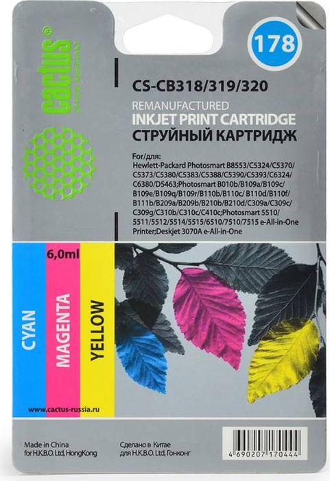Cactus CS-CB318/319/320 №178, Cyan Yellow Magenta картридж струйный для HP PS B8553/C5383/C6383CS-CB318/319/320Набор картриджей Cactus CS-CB318/319/320 №178 для струйных принтеров HP PS B8553/C5383/C6383. Расходные материалы Cactus для печати максимизируют характеристики принтера. Обеспечивают повышенную четкость изображения и плавность переходов оттенков и полутонов, позволяют отображать мельчайшие детали изображения. Обеспечивают надежное качество печати.