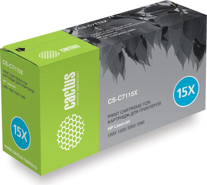 Cactus CS-C7115XS, Black тонер-картридж для HP LJ 1200/1220/1300/3300/3380CS-C7115XSТонер-картридж Cactus CS-C7115XS для лазерных принтеров HP LJ 1200/1220/1300/3300/3380.Расходные материалы Cactus для лазерной печати максимизируют характеристики принтера. Обеспечивают повышенную чёткость чёрного текста и плавность переходов оттенков серого цвета и полутонов, позволяют отображать мельчайшие детали изображения. Гарантируют надежное качество печати.