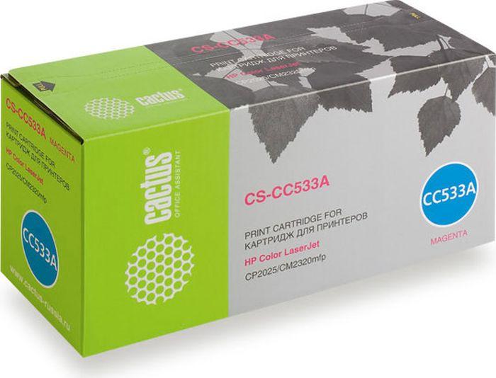 Cactus CS-CC533A, Magenta тонер-картридж для HP CLJ CP2025/CM2320CS-CC533AТонер-картридж Cactus CS-CC533A для лазерных принтеров HP CLJ CP2025/CM2320.Расходные материалы Cactus для лазерной печати максимизируют характеристики принтера. Обеспечивают повышенную чёткость чёрного текста и плавность переходов оттенков серого цвета и полутонов, позволяют отображать мельчайшие детали изображения. Гарантируют надежное качество печати.