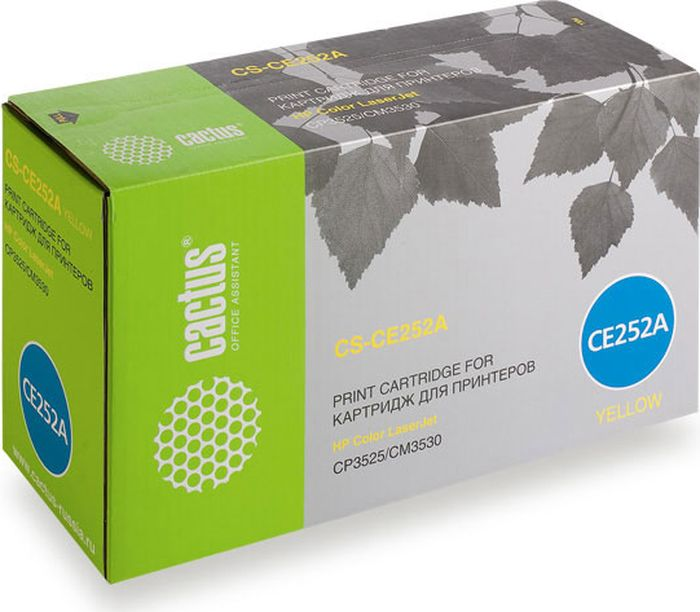 Cactus CS-CE252A, Yellow тонер-картридж для HP CLJ CP3525/CM3530CS-CE252AТонер-картридж Cactus CS-CE252A для лазерных принтеров HP CLJ CP3525/CM3530.Расходные материалы Cactus для лазерной печати максимизируют характеристики принтера. Обеспечивают повышенную чёткость чёрного текста и плавность переходов оттенков серого цвета и полутонов, позволяют отображать мельчайшие детали изображения. Гарантируют надежное качество печати.