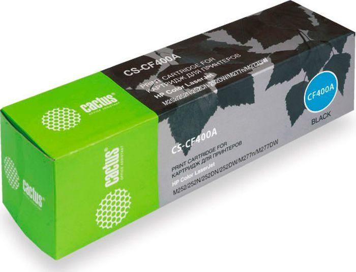 Cactus CS-CF400A, Black тонер-картридж для HP CLJ M252/252N/252DN/252DW/M277n/M277DWCS-CF400AКартридж Cactus CS-CF400A для лазерных принтеров HP Color LaserJet.Расходные материалы CACTUS для монохромной лазерной печати максимизируют характеристики принтера. Обеспечивают повышенную чёткость чёрного текста и плавность переходов оттенков серого цвета и полутонов, позволяют отображать мельчайшие детали изображения. Обеспечивают надежное качество печати.