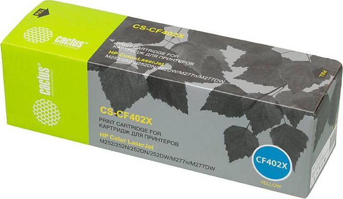 Cactus CS-CF402X, Yellow тонер-картридж для HP CLJ M252/252N/252DN/252DW/M277n/M277DWCS-CF402XТонер-картридж Cactus CS-CF402X для лазерных принтеров HP CLJ M252/252N/252DN/252DW/M277n/M277DW.Расходные материалы Cactus для лазерной печати максимизируют характеристики принтера. Обеспечивают повышенную чёткость чёрного текста и плавность переходов оттенков серого цвета и полутонов, позволяют отображать мельчайшие детали изображения. Гарантируют надежное качество печати.