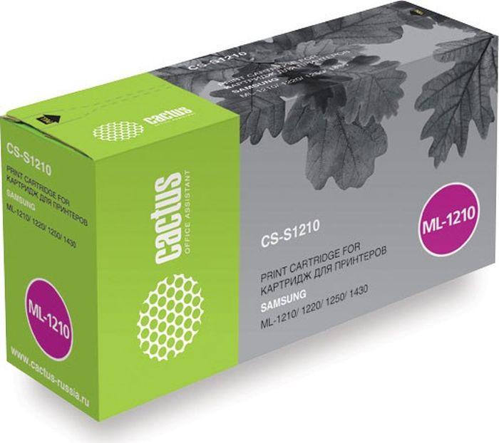 Cactus CS-S1210, Black тонер-картридж для Samsung ML-1210/1220/1250/1430CS-S1210Тонер-картридж Cactus CS-S1210 для лазерных принтеров Samsung ML-1210/1220/1250/1430.Расходные материалы Cactus для лазерной печати максимизируют характеристики принтера. Обеспечивают повышенную чёткость чёрного текста и плавность переходов оттенков серого цвета и полутонов, позволяют отображать мельчайшие детали изображения. Гарантируют надежное качество печати.