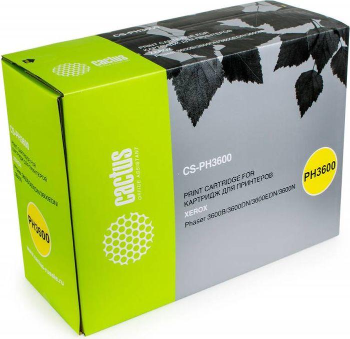 Cactus CS-PH3600 106R01371, Black тонер-картридж для Xerox Phaser 3600/3600b/3600dn/3600nCS-PH3600Тонер-картридж Cactus CS-PH3600 106R01371 для лазерных принтеров Xerox Phaser 3600/3600b/3600dn/3600n.Расходные материалы Cactus для лазерной печати максимизируют характеристики принтера. Обеспечивают повышенную чёткость чёрного текста и плавность переходов оттенков серого цвета и полутонов, позволяют отображать мельчайшие детали изображения. Гарантируют надежное качество печати.