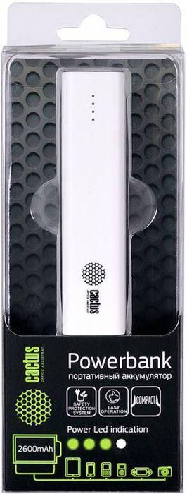 Cactus CS-PBAS120-2600WT, White внешний аккумулятор (2600 мАч)CS-PBAS120-2600WTМодель мобильного аккумулятора Cactus CS-PBAS120-2600 имеет доступную цену и компактный размер. Этот PowerBank предназначен для тех, кому необходим доступный вариант дополнительной батареи для мобильных устройств, а также тех, кто хочет очень легкое и портативное зарядное устройство.Для зарядки устройств используется USB выход, а индикатор заряда аккумулятора даст понять, когда нужно зарядить пауэрбанк.