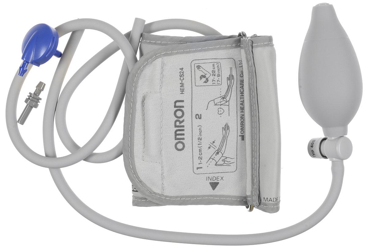 Манжета Omron CS2 Small Cuff and Inflation Bulb (HEM-CS24) педиатрическая c грушейУТ000001264Малая (педиатрическая)веерообразная манжета Omron CSB2(HEM-CSB24) с грушей, для рук с охватом плеча 17 - 22 см., разработана для детей и взрослыххрупкого телосложения и подходит для всех полуавтоматических тонометров Omron с фиксацией манжеты на плечо.