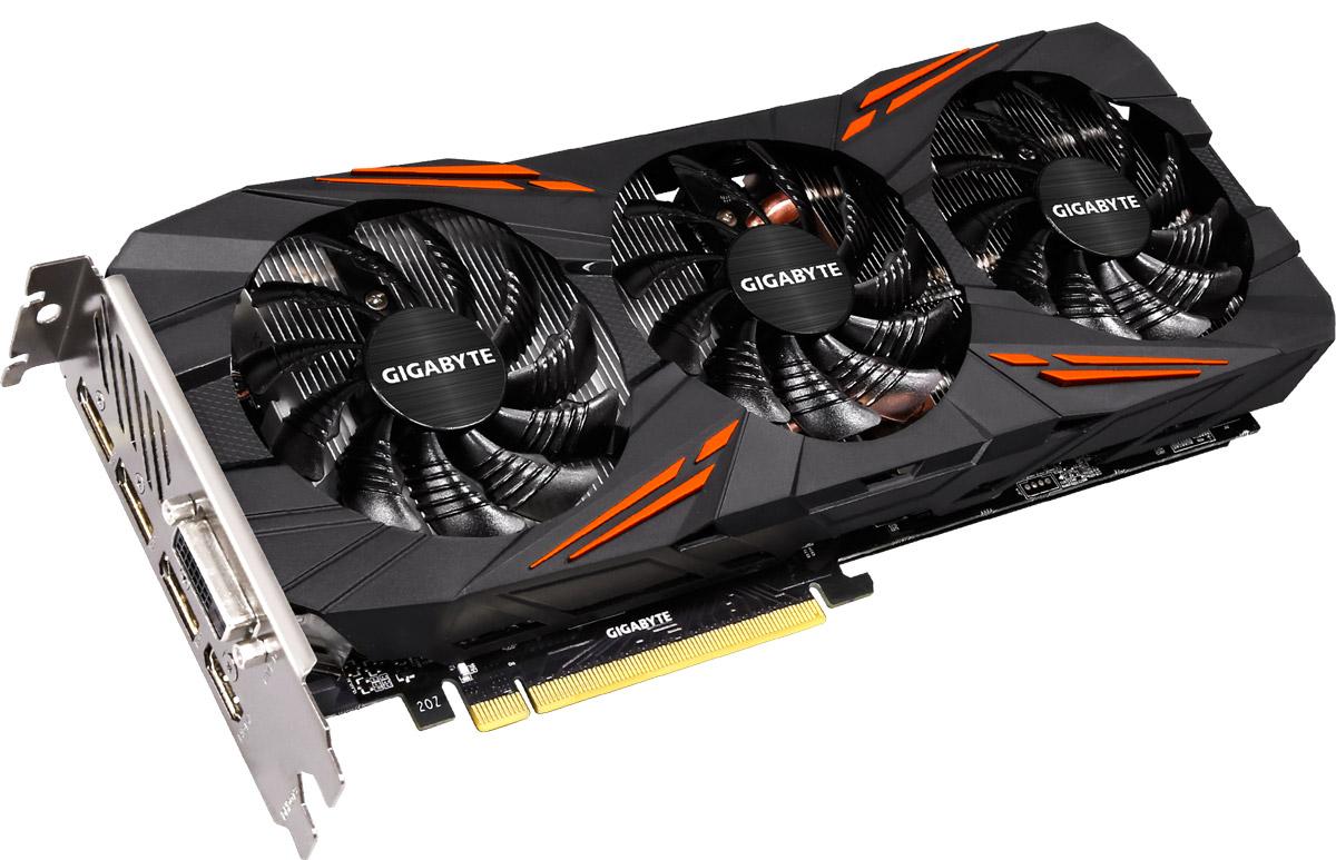 Gigabyte GeForce GTX 1080 G1 Gaming 8GB видеокартаGV-N1080G1 GAMING-8GDGigabyte GeForce GTX 1080 G1 Gaming обеспечивает самую высокую производительность, добавляя продвинутые игровые технологии (NVIDIA GameWorks) и саму продвинутую игровую экосистему (GeForce Experience).Технология NVIDIA GameWorks поддерживает последние требования современных мониторов, включая VR, мониторы с ультра высоким разрешением, так же обеспечивает плавный игровой процесс, кинематографический опыт, возможность захвата изображения 360 даже в VR. Откройте для себя новое поколение VR, с низким показателем задержки, наушниками последнего поколения, благодаря технологии NVIDIA VRWorks. VR аудио (звуковые эффекты), реалистичная графика и физика предметов, позволяют вам прочувствовать и услышать каждый момент.Система охлаждения WINDFORCE 3X состоящая из трех медных композитных трубок, которые напрямую отводят тепло от GPU, специальной архитектуры пластинок радиатора, уникального дизайна лопастей вентилятора. Благодаря этим характеристикам удается достичь высокого уровня отвода тепла, при высоких нагрузках и низкой температуре.Используется полу-пассивный режим работы, вентиляторы останавливают свою работу, если температура чипа не высокая, или нет достаточной нагрузки. На торце видеокарты расположен индикатор работы вентилятора.Композитные медные трубки сочетают в себе два важных аспекта теплопереноса и способности забирать тепло из зоны прямого контакта. Таким образом повышается эффективность охлаждения на 29%.Настраиваемая RGB подсветка логотипа и индикатора работы вентилятора. Вам доступно 16.8 млн цветовых оттенков и различные схемы работы подсветки, а также можно установить необходимый режим с помощью программного обеспечения XTREME ENGINE.Одним простым действием в программном обеспечении XTREME Engine, игроки могут легко настроить карту таким образом, чтобы удовлетворить различные игровые требования без специальных знаний.При производстве серии G1 Gaming используются отобранные и первоклассны