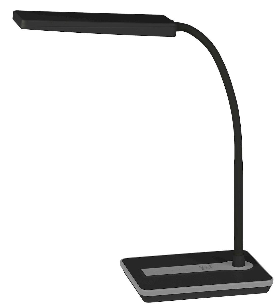 Настольный светильник ЭРА NLED-446-9W-BK, цвет: черныйNLED-446-9W-BKСветильник со светодиодами (LED) в качестве источников света, которые экономят до 90% электроэнергии и не требуют замены на протяжении всего срока службы светильника.Сенсорный переключатель на основании.Четырехступенчатый диммер для регулировки яркости.Высота плафона регулируется гибкой стойкой, направление света регулируется поворотом плафона в любом направлении.Теплый свет, аналогичный свету лампы накаливания - цветовая температура 3000К.